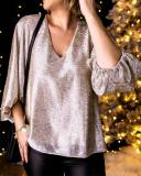 Sequin V Neck Lantern Sleeve Top