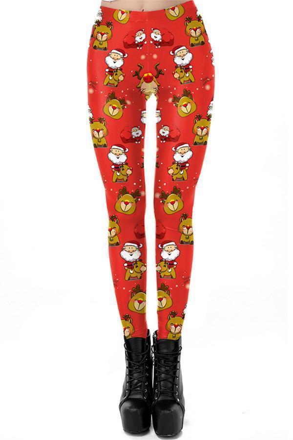 Christmas Festivals Printed Long Pants