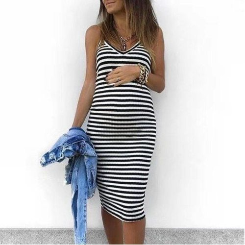 Maternity Dresses Maternity Clothes Sleeveless Striped Print Breastfeeding Pregnants Dress Comfortable Sundress Pregnancy Dress