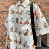 Women Tops Refined Personality Printed Shirt Loose Casual Lapel Short Sleeve Blouses