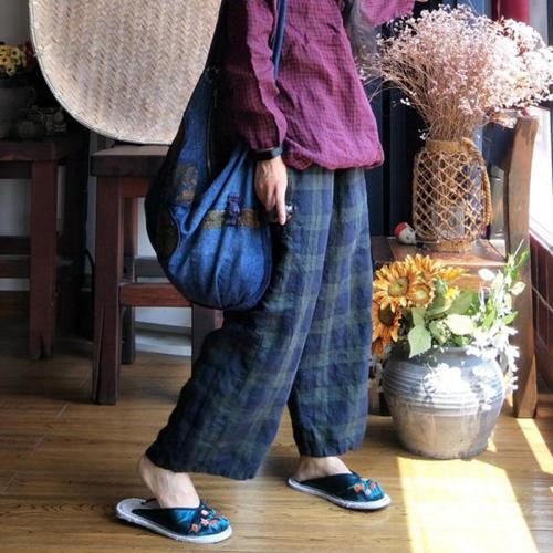 Plaid Linen Pants