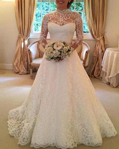 Solid Color Lace Long Sleeve Evening Dress