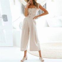 Sweet Plain Flouncing Slim Button Embellished Jumpsuit