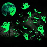 Sheets Halloween Luminous Stickers Halloween Glow in Dark Window Decals Removable Ghosts Bats Moon Peeping Eyes Wall Stickers Night Glow Decals for Halloween Theme Party