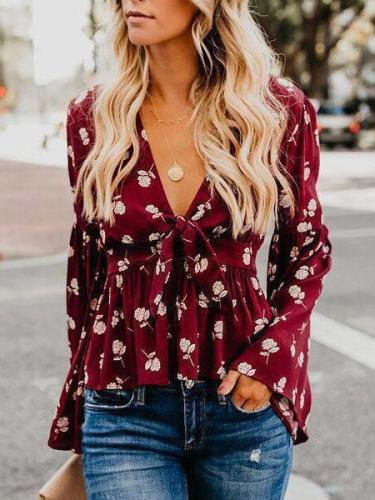Autumn Sexy V-Neck Floral Printed Bell Long Sleeves Lace Up Shirts