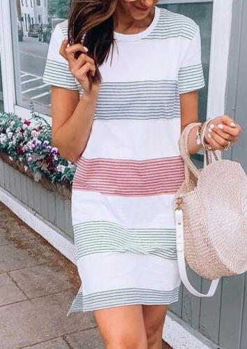 Striped Round Neck Mini Dress