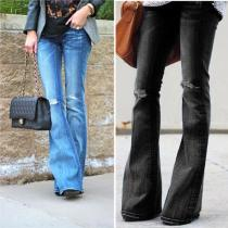 Casual Slim High Stretch Flared Jeans