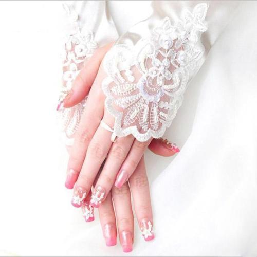 Womens Long Gloves Fingerless Embroidery Lace Trim Beaded Sequins Bridal Wedding Accessory