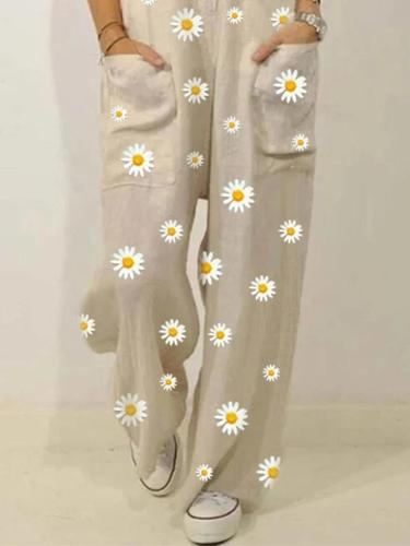 EBUYTIDE Chic Small Daisy Printed Sling Loose Jumpsuit