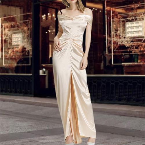 Fashion Golden Suspender Evening Dress