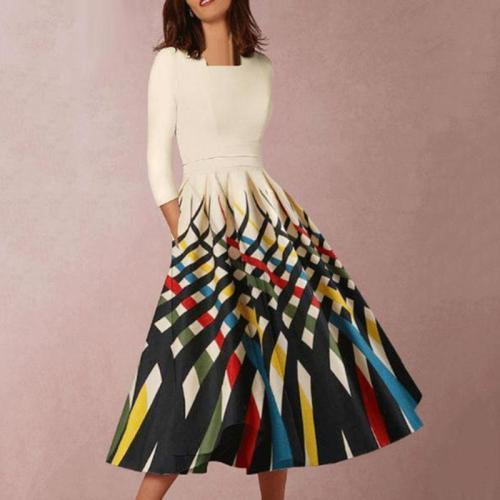 Asymmetric Neck  Printed Skater Dress