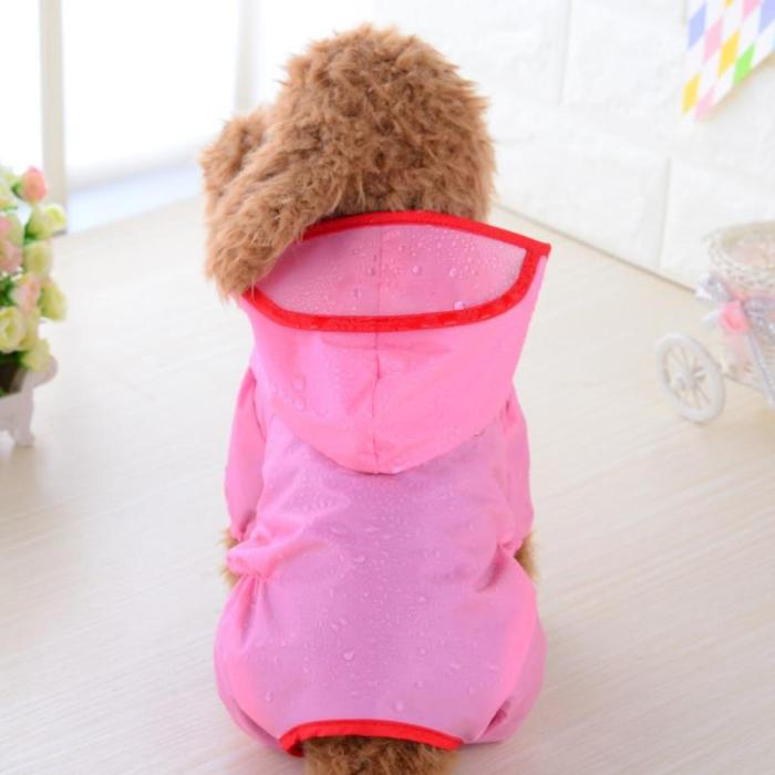 Pet raincoat summer hoody waterproof clothing Teddy jumpsuit breathable safety-rainwear puppy-costume pink kitten-suit outdoor