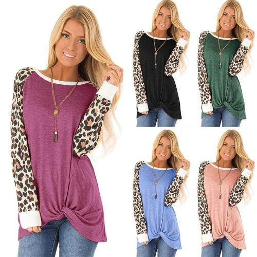 Women Leopard Print Knot Round Neck Casual Long Sleeve T-shirt