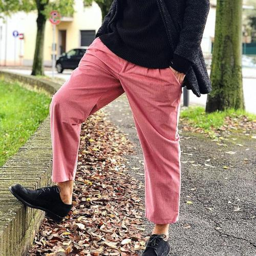 Casual solid color pocket loose men's trousers
