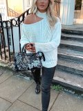 High Neck One Shoulder Off Knit Sweater