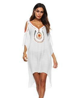 Hollow Embroidered Sexy Beach Mini Dresses