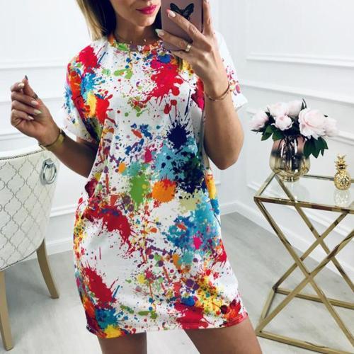 Painted Splatter Print Dresses Splash Sukienka Harajuku Punk Fashion Dress Hip Hop Style Women Hipster Fitting Shirt Dress Cool
