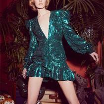 Design V Neck Paillette Bubble Sleeves Dress