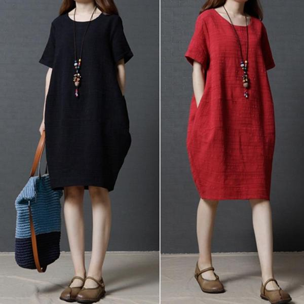 Women's Korean-style Loose Cotton and Linen Solid Color Short-sleeved Dress