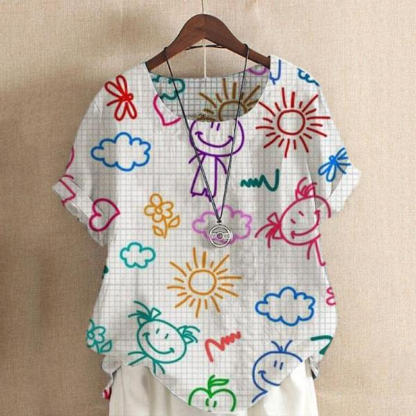 Fashion Casual Print Short Sleeves