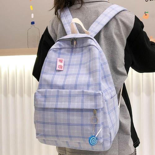 Student New Cute Backpack Plaid Women Cotton Fabric School Bag Girl Luxury Book Kawaii Backpack Harajuku Lady Bag Fashion Female
