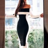 Off-shoulder Contrast Color Tight Dress