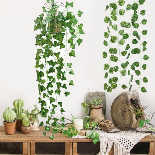 230cm Artificial Ivy Leaf Garland Green Plants Vine Foliage Flowers For Balcony Loft Home Wall Hanging Decor DIY Rattan Wreath