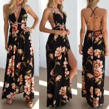 Summer dress 2020 Floral Vestidos Mujeres Sexy Maxi Dress Long Pleated Dresses Backless Dresses