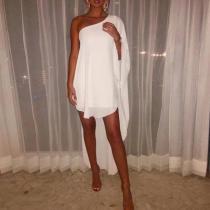 Casual One-Shoulder Asymmetric   Stitching Dress