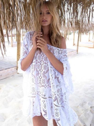 Lace Embroidered Backless Beach Cover-Ups
