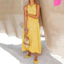 Elegant Floral Pattern Off-Shoulder Sleeveless Jumper Skirt