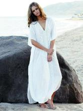 Long White Over Size Vacation Bikini Cover-Ups