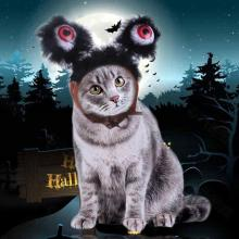 Pet Dog Cats Headdresses For Christmas Halloween Pet Cat Headgear Santa Headwear Hats Dog Cat Cosplay Dressing Up Props