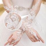 Elegant White Fingerless Elbow Long Lace Bridal Gloves Crystal Wedding Gloves for Bride Women Wedding Accessories VL
