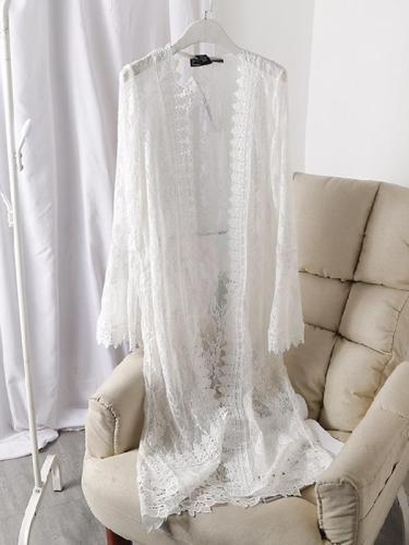 Cardigan Lace Crochet Trumpet Sleeve Mesh Air Conditioning Lace Shirt Cover Up