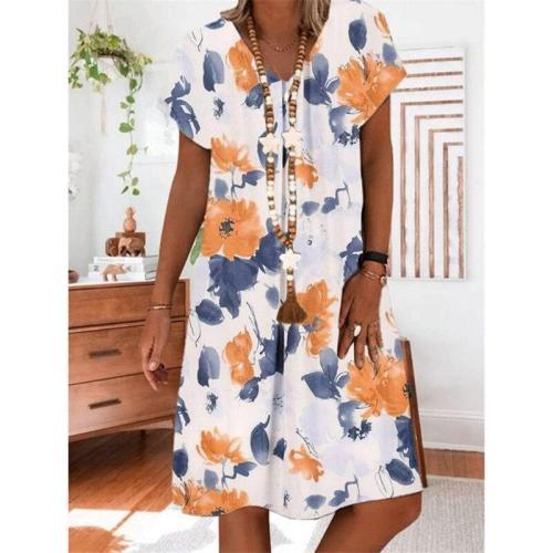 Women's Big Flower Print Short Sleeve V-Neck Dress