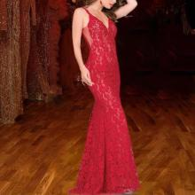 Sexy Deep V Lace Backless Red Evening Dress