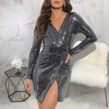 Silver V-neck Split Fashion Sexy Bodycon Dress
