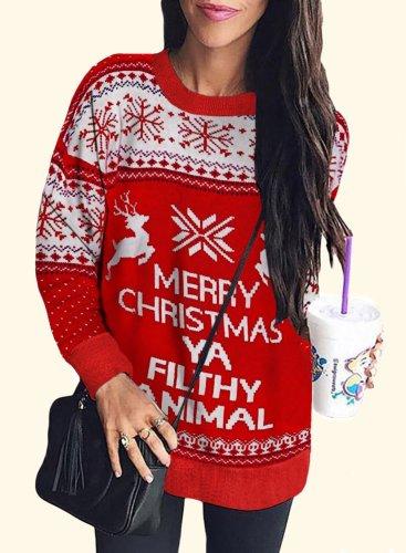 Christmas Round Neck Long Sleeve Hoodie
