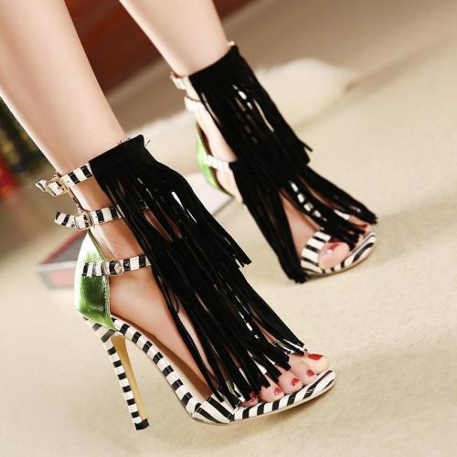 Tassels Stripes Open Toe Stiletto High Heels Sandals