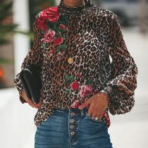 Ladies Leopard Print Blouse