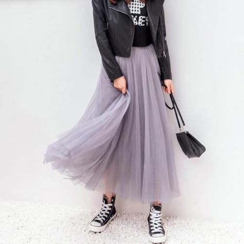 Elegant Long Skirt Women Spring Elastic High Waist Mesh Tutu Skirt Females Pleated Tulle Mesh Skirt Women Vintage Party Skirt