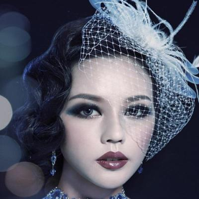 2020 Women Face Bridal Hats and Fascinators White/ Black Net Wedding Hair With Comb Bridal Hair Accessories