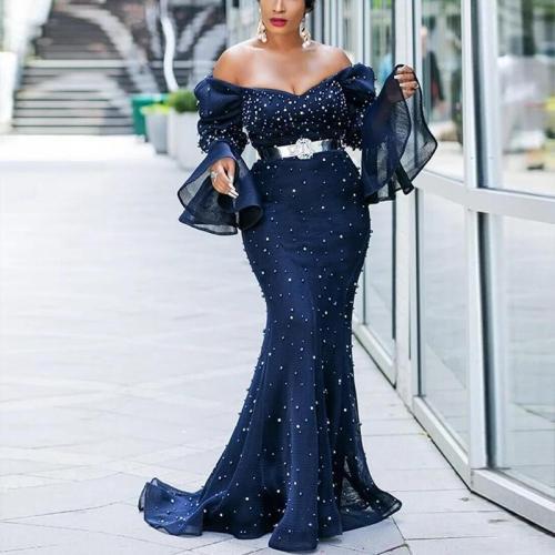 Elegant Retro Mesh Off-The-Shoulder Evening Dress