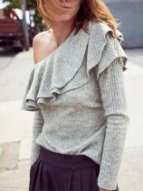 Oblique Collar Long Sleeve Plain Ruffles Knitting T-Shirts