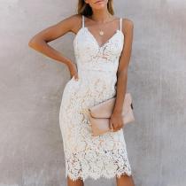 Slim lace midi skirt