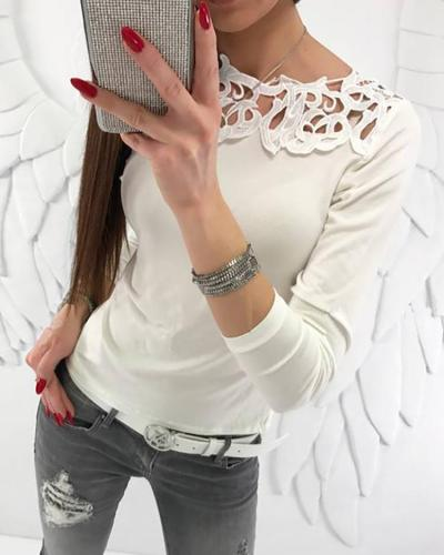 Casual Solid Color Hollow Out Blouses
