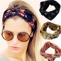 Women Girl Boho Rose Floral Headband Retro Twist Cross Elastic Hair Bands Turban Knotted Printed Hair Accessories Headwrap Gifts