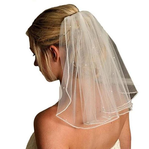 Women Short Bridal Veil One Layer Soft Tulle Sequin Beaded Wedding Veil With Comb