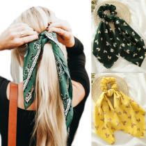 Floral Print Scrunchies for Women Elastic Hair Bands Streamers Bow Hair Scarf Hair Rope Ties Fashion Hair Accessories